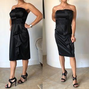WHBM Strapless Cascade Black Satin Formal Dress